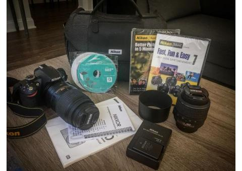 Nikon d3200 with 18-55mm, 55-300mm lens